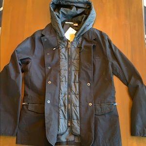 NWT DKNY men's hooded layer look navy fall jacket